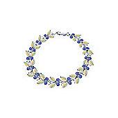 QP Jewellers 8.5in Tanzanite & Opal Butterfly Bracelet in 14K White Gold