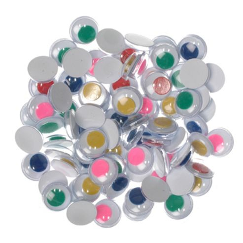Joggle Eyes Col 10mm Glue on 25 pairs