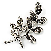 Delicate Diamante Leaf Brooch (Silver Tone Metal)