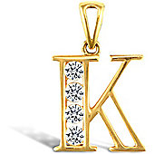 Jewelco London 9ct Gold CZ Initial ID Personal Pendant, Letter K - 1.9g