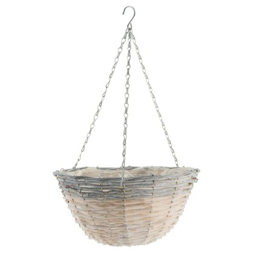 12 inch Natural Hanging Basket grey rim