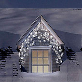 120 Warm White Snowing Outdoor Icicle LED Christmas Lights