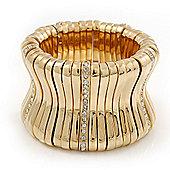 Polished Gold Plated Concave Diamante Bracelet -17cm Length