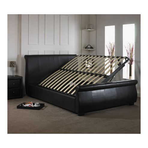 Buy Alpha furniture Rimini Real Leather Bed - Black - Super King from