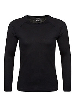 Talus Mens Long Sleeved Round Neck Top - Black