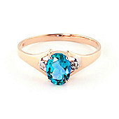 QP Jewellers Diamond & Blue Topaz Oval Desire Ring in 14K Rose Gold