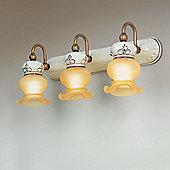Siru Vecchia Fattoria Three Light Wall Bracket - Aged Amber Acidated + Ceramica Marrone