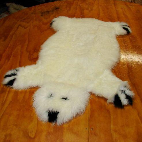 Bowron Sheepskin Designer Bear Rug in Ivory - 115cm H x 80cm W