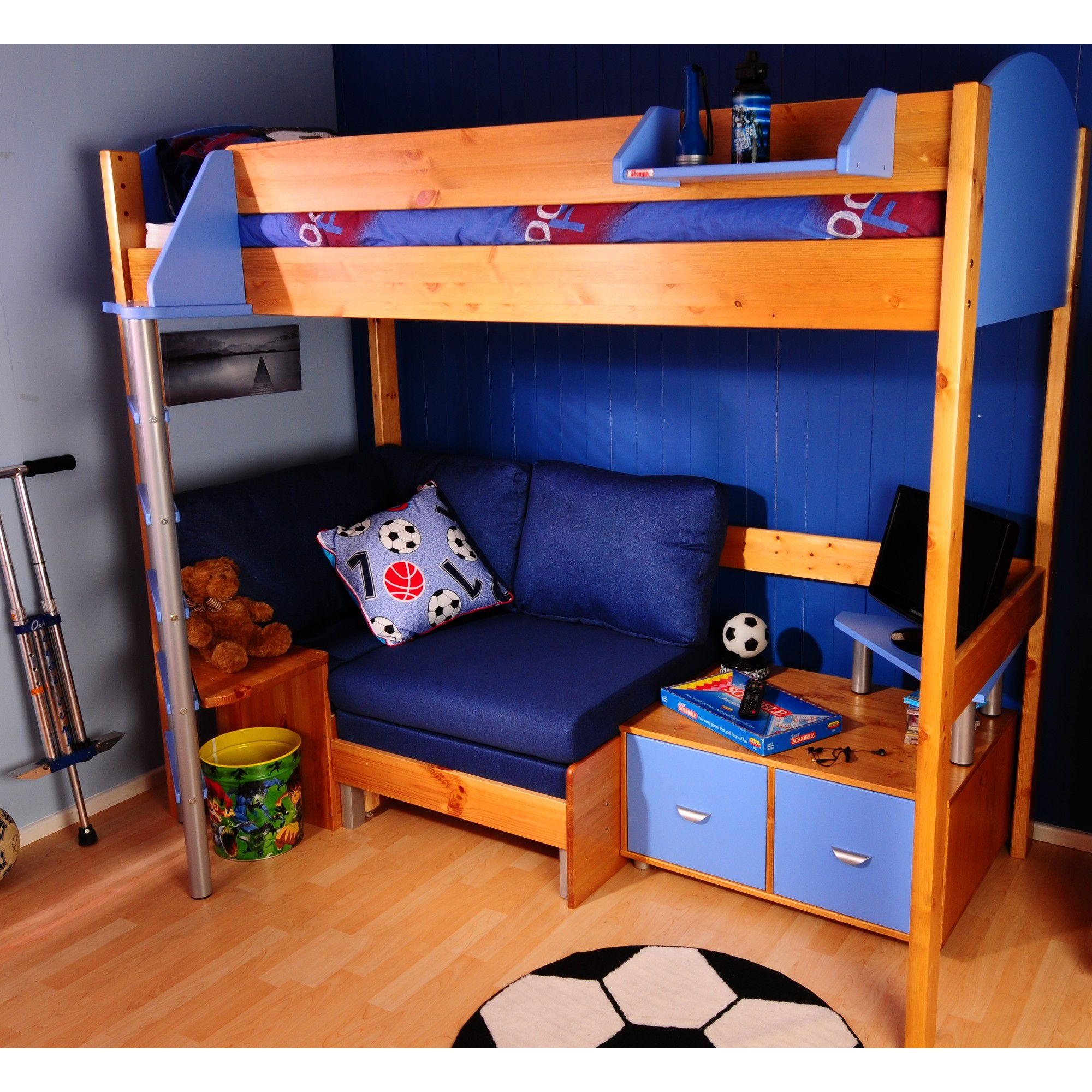 Stompa Casa High Sleeper Sofa Bed with 2 Cube Unit and TV Stand - Antique - Blue - Blue Denim at Tesco Direct