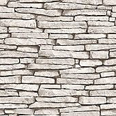 White and Silver Slate Stone Effect Wallpaper - Fine Decor