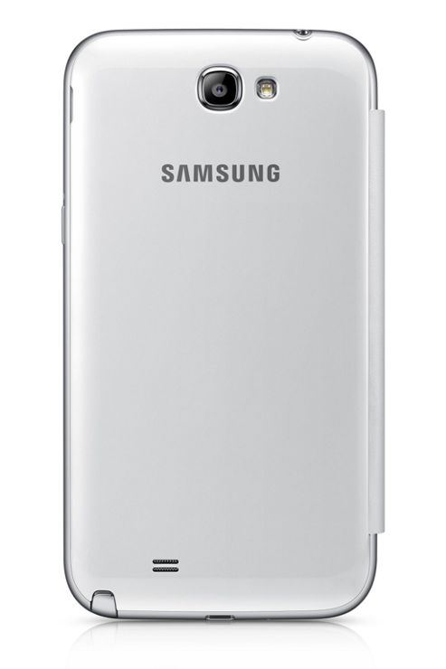 Samsung Original Clip-On-Replacement Battery Cover with Leather Feel Flip Case Galaxy Note 2 -White
