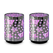 Pair of Battery Operated RGB Colour Changing LED Flower & Butterfly Table Lamps, Chrome