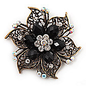 Vintage Filigree Crystal Brooch (Antique Gold & Jet Black)