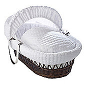 Clair de Lune Dark Wicker Moses Basket (Marshmallow White)