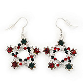 Red/Green/White Crystal 'Christmas Star' Drop Earrings In Silver Plating - 4.5cm Length