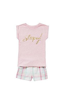 F&F Sleepy Slogan Checked Shorts Pyjamas - Pink
