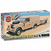 LWB Landrover (Soft Top) & Trailer (A02322) 1:76
