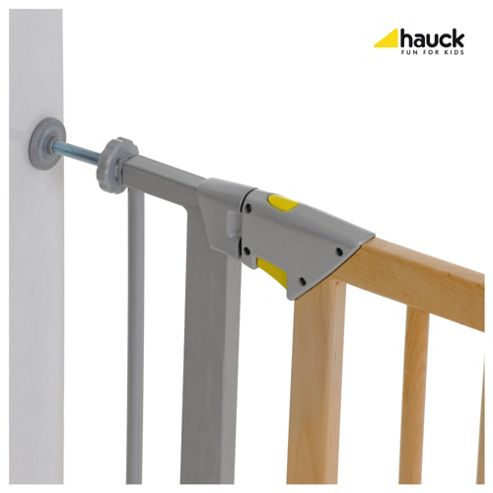 Hauck Trigger Lock Metal & Wood Pressure Fix Safety Gate - Silver/Wood
