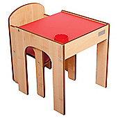 Little Helper Fun Station Toddler Table & Chair Set In Maple/Red Combo