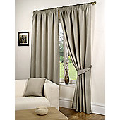 Willow Ready Made Curtains Pair, 66 x 72 Taupe Colour, Modern Designer Look Pencil pleated curtains