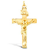Jewelco London 9ct Yellow Gold light weight flat crucifix pendant