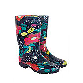 Mountain Warehouse Women's Floral Waterproof Soft-lined Festival Wellington DD Boots - Navy
