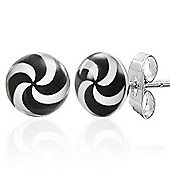 Urban Male Black & White Men's Swirl Stainless Steel 7mm Stud Earrings