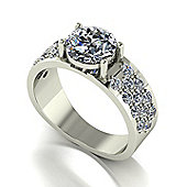 18ct White Gold 7.5mm Single Stone Moissanite Ring with Pave set Moissanite Band.