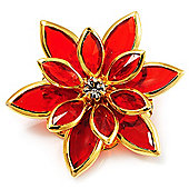 Small Red Acrylic Floral Brooch (Gold Tone)