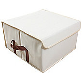 Arca - Low Folding Canvas Storage Box - Beige / Brown