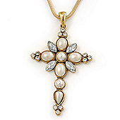 Pearl and CZ 'Fleur de Lis' Statement Cross Pendant and Chain (Silver)