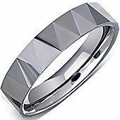 Urban Male Solid Tungsten Carbide Faceted Half Round Polished Ring