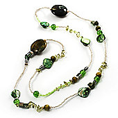 Long Exquisite Glass & Shell Bead Necklace (Grass Green & Olive Green) - 96cm Length