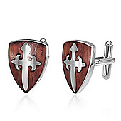 Urban Male Shield Design Stainless Steel Men's Cufflinks With Wood Inlay
