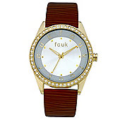 French Connection FCUK Ladies Leather Stone Set Watch FC1073GS