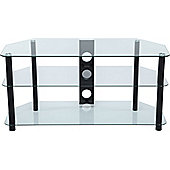 Stealth Mounts 1000mm Clear Glass and Black Legs TV Stand for TVs up to 50 inch