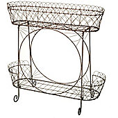 Parlane Large Pretty Two Tier Metal Wire Plant Stand - 79 x 84 x 40cm