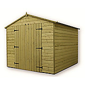 9ft x 8ft Windowless Premier Pressure Treated T&G Apex Shed + Higher Eaves & Ridge Height + Double Doors