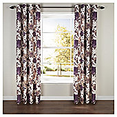 Hand Painted Floral Lined Eyelet Curtains - Plum