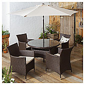 Rattan Garden Dining Set, Brown, 6 piece