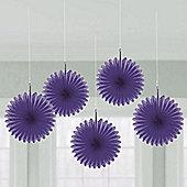 Purple Hanging Fan Decorations - 15.2cm