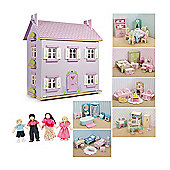 Le Toy Van Lavender House Dolls House, Daisylane Furniture and Dolls