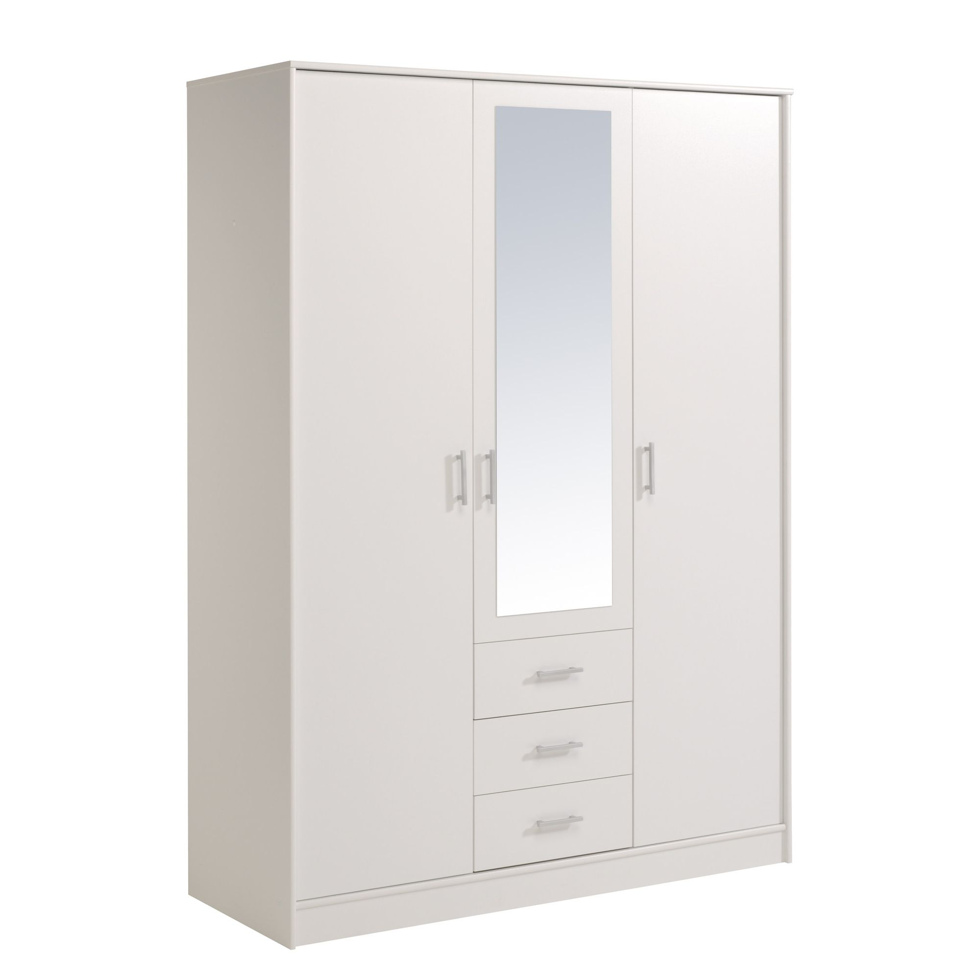 Parisot Essential Wardrobe with 3 Doors and 3 Drawers - White Megeve at Tesco Direct
