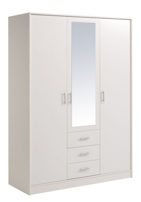 Parisot Essential Wardrobe with 3 Doors and 3 Drawers - White Megeve