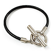 T-Bar Leather Cord Bracelet (Silver Tone)
