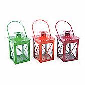 Set of Three Small Coloured Metal & Glass Garden Lanterns