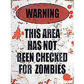 Zombie Warning Sign Tin Sign