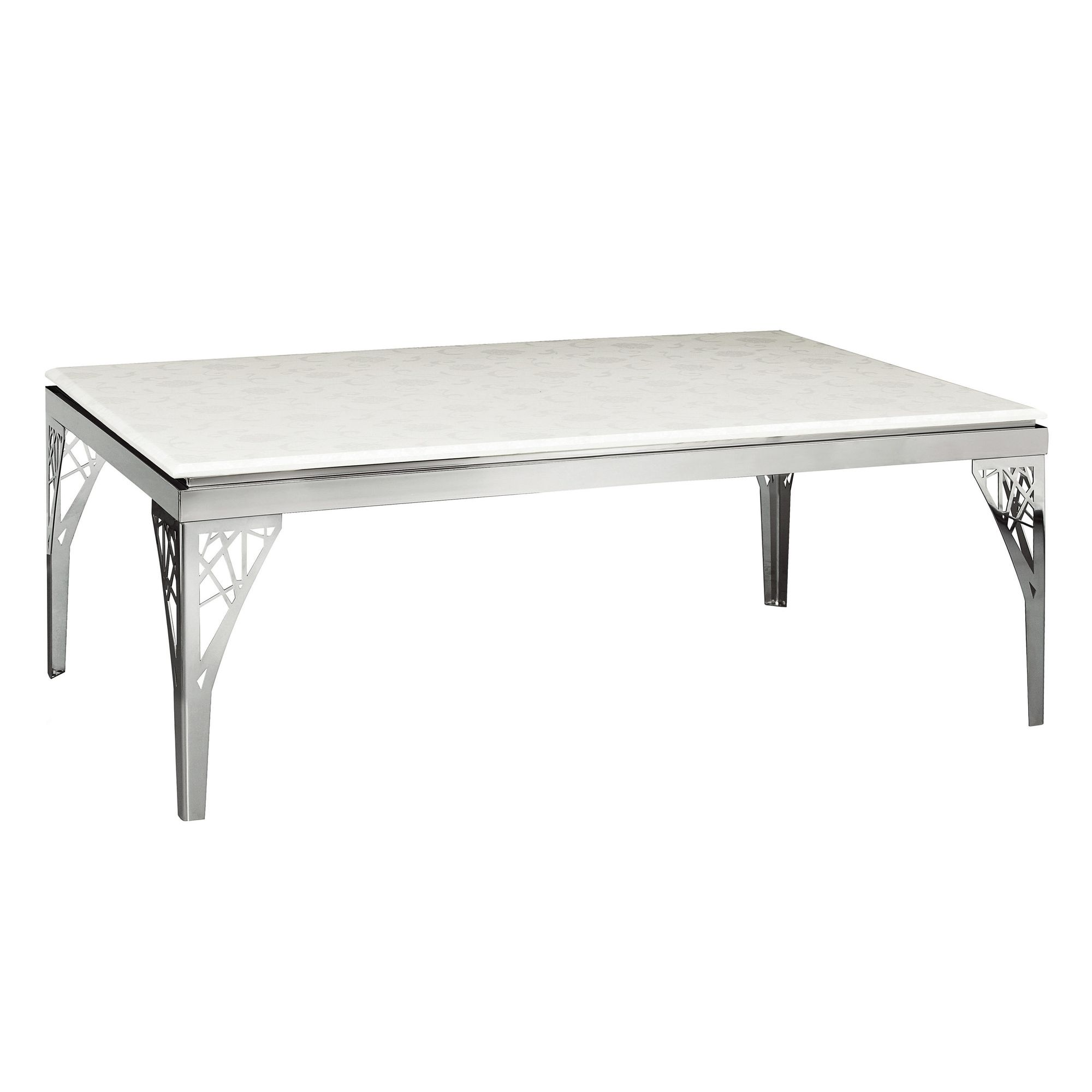 Premier Housewares White Marble Coffee Table with Stainless Steel Legs at Tesco Direct