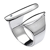 IT Diamonds Rhodium JUX Diamond Sleek Wide Ring
