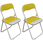 2 x Yellow and White Padded Folding Chair - Great for, Office, Desk, Poker